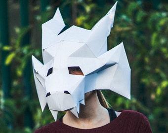 Papercraft Medieval Dragon Mask, Printable Mask, DIY Instant Halloween Mask Download