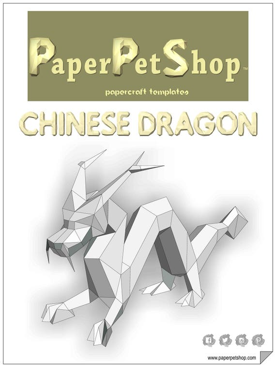 chinese dragon printable papercraft template etsy