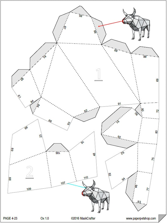 ox bull papercraft template instant download etsy Horn Diagram 50