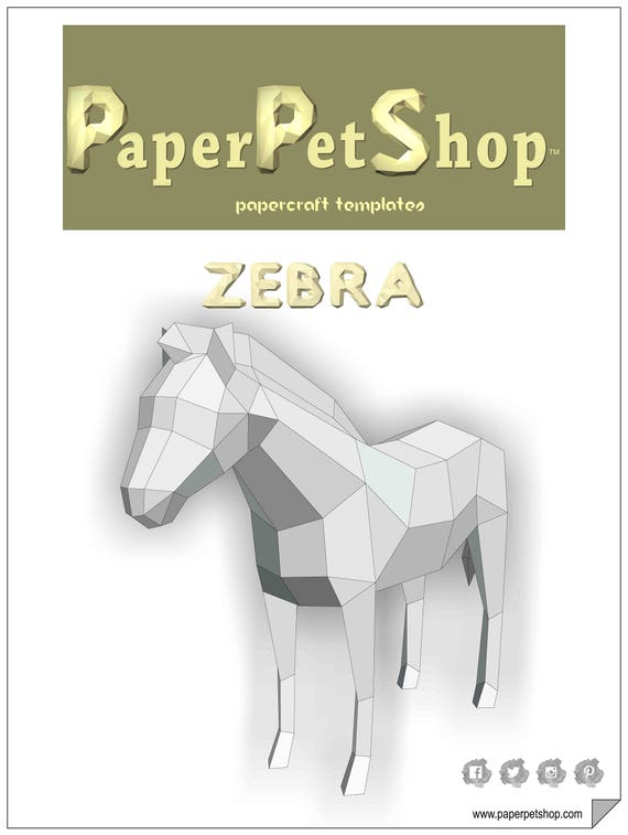 Zebra Printable Papercraft Template Paper Model