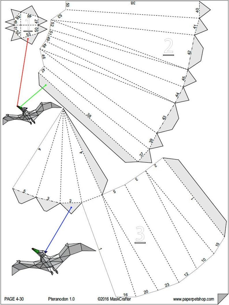 photograph about Dinosaur Stencil Printable named Puppy Pteranodon, 3d Papercraft dinosaur Template. Printable pdf. Boys present