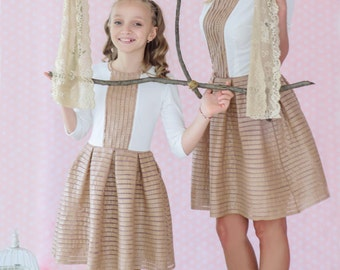 Girls Brown Dress, Leather Dress, Girls Sweater Dress, Toddler White Dress, Kids Party Dress, Winter Clothing, Kids Elegant Dress
