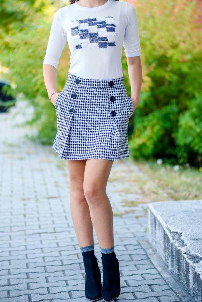 9e06e1eaa Woman Skirt Tartan Skirt Trapez Skirt Tartan Plaid Skirt High | Etsy