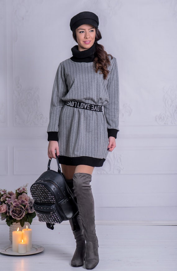 Woman Dress Winter Dress Gray Dress Soft Dress Plus Size Dress Maxi Dress  Maxi Tunic Mommy and Me Outfits Polo Collar Dress Longsleeve