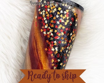 """Ready To Ship """"Ready For Fall"""" Glitter Tumbler   Stainless Steel Tumbler   Glitter Tumbler"""