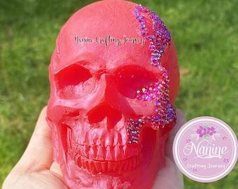 Red Skull | Skull Deco | Resin Skull | Decor Skull | Gift | Skull With Gemstones