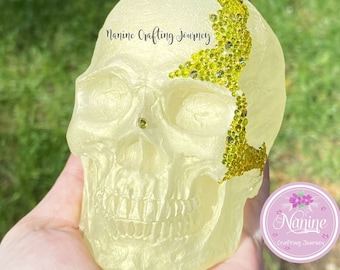 Yellow Skull | Skull Deco | Resin Skull | Decor Skull | Gift | Skull With Gemstones