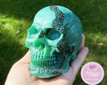 Green Skull | Skull Deco | Resin Skull | Decor Skull | Gift | Skull With Gemstones
