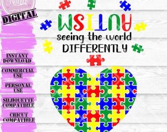 Autism Heart + Autism Quote SVG | Quote SVG, Cut File, Cricut, Silhouette, Instant download