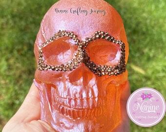 Orange Skull | Skull Deco | Resin Skull | Decor Skull | Gift | Skull With Gemstones