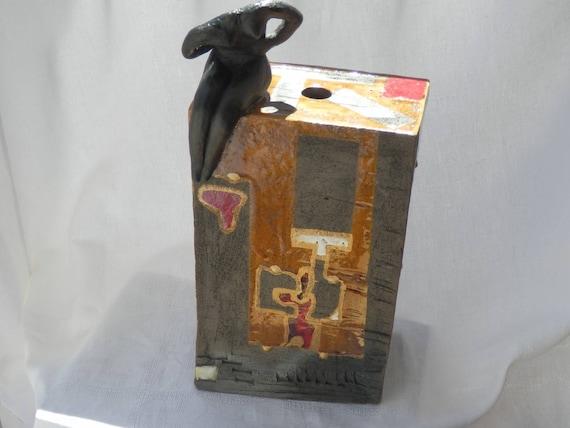 pied de lampe en c ramique artisanale raku tons mielrouge etsy. Black Bedroom Furniture Sets. Home Design Ideas