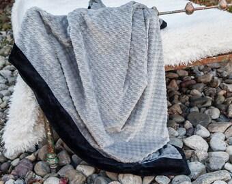 Houndstooth Black Blanket, Black Gray, Black Blanket, Houndstooth Blanket, Grey Blanket, Throw Blanket, Chunky Blanket, Throw Blanket