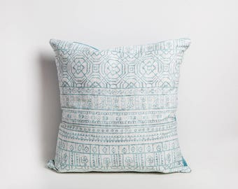 Cotton Linen Pillow Cover, Aqua, Linen Pillow Cover, Cotton Pillow Cover, Aqua Pillow Cover, Aqua Pillow, Invisible Zipper, Tribal Print