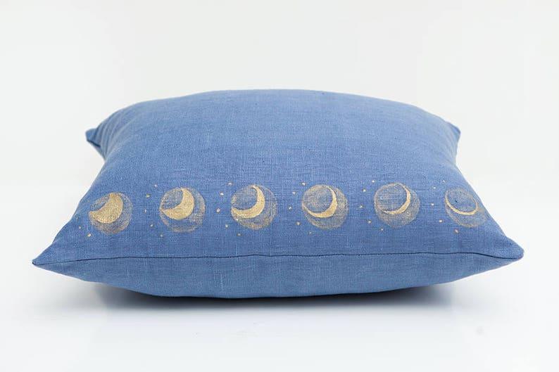 Blue Moon Pillow Lunar Decor Blue Linen Pillow image 0