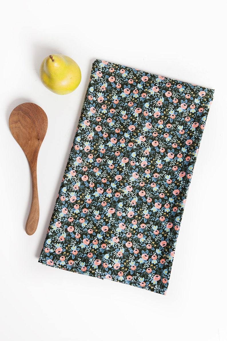 Flower Cotton Tea Towel Floral Hostess Gift image 0