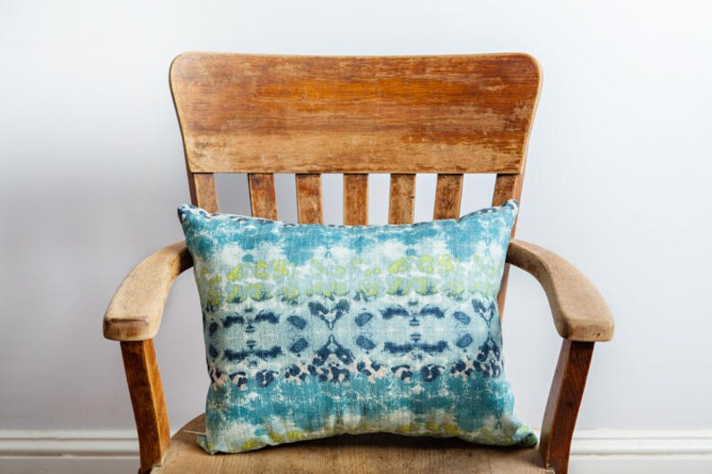 Blue Beach Boho Pillow Watercolor Pillow image 0