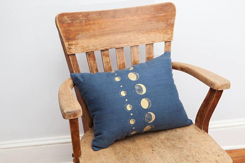 Navy Moon Pillow Navy Linen Bedroom Pillow Hand painted OOAK image 0