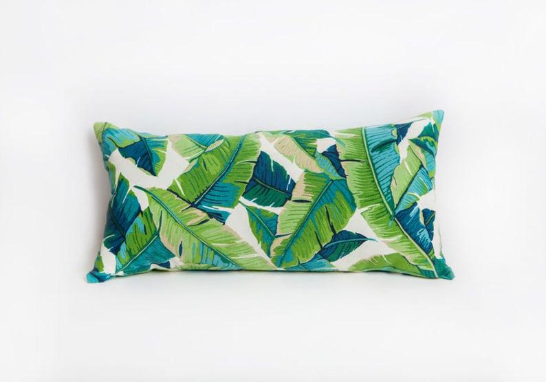 Green Leaf Lumbar Pillows image 0