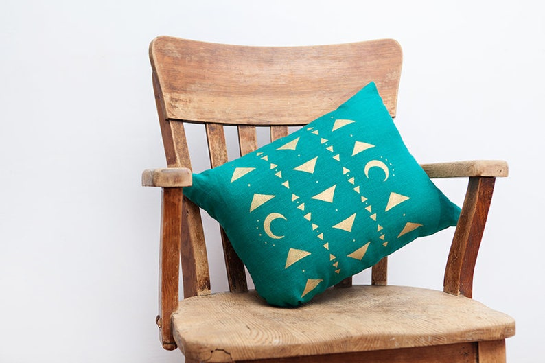 Modern Boho Turquoise Pillow Witchcraft Pillow image 0