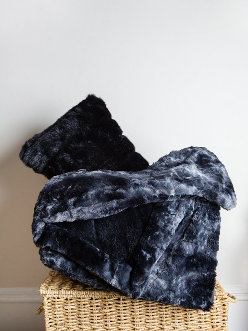 Black Faux Rabbit Throw Blanket image 0