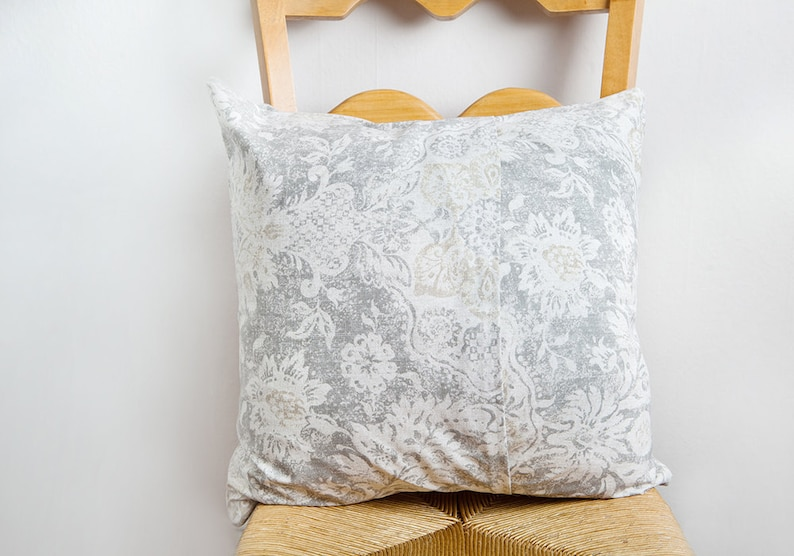 Grey French Floral Pillow Cover image 0