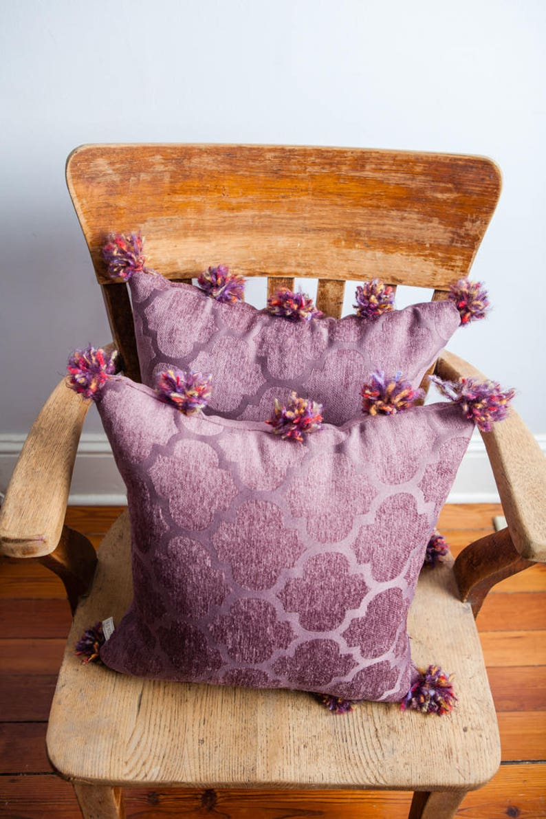 Purple Pom Pom Pillow Purple Pom Pom Pillow Pom Pom. Purple image 0