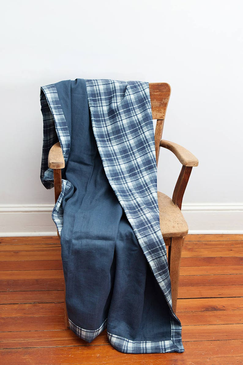 Soft Blue Plaid Throw Blanket Chambray Blanket Cotton image 0