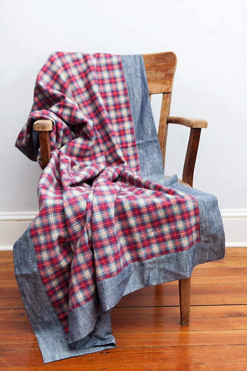 Red Plaid Blanket Red Blue Plaid Blanket Flannel Blanket image 0