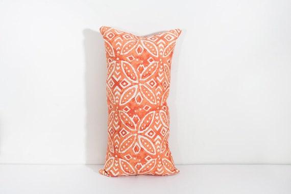 Orange Lumbar Pillow Outdoor Pillow Orange White Pillow Etsy