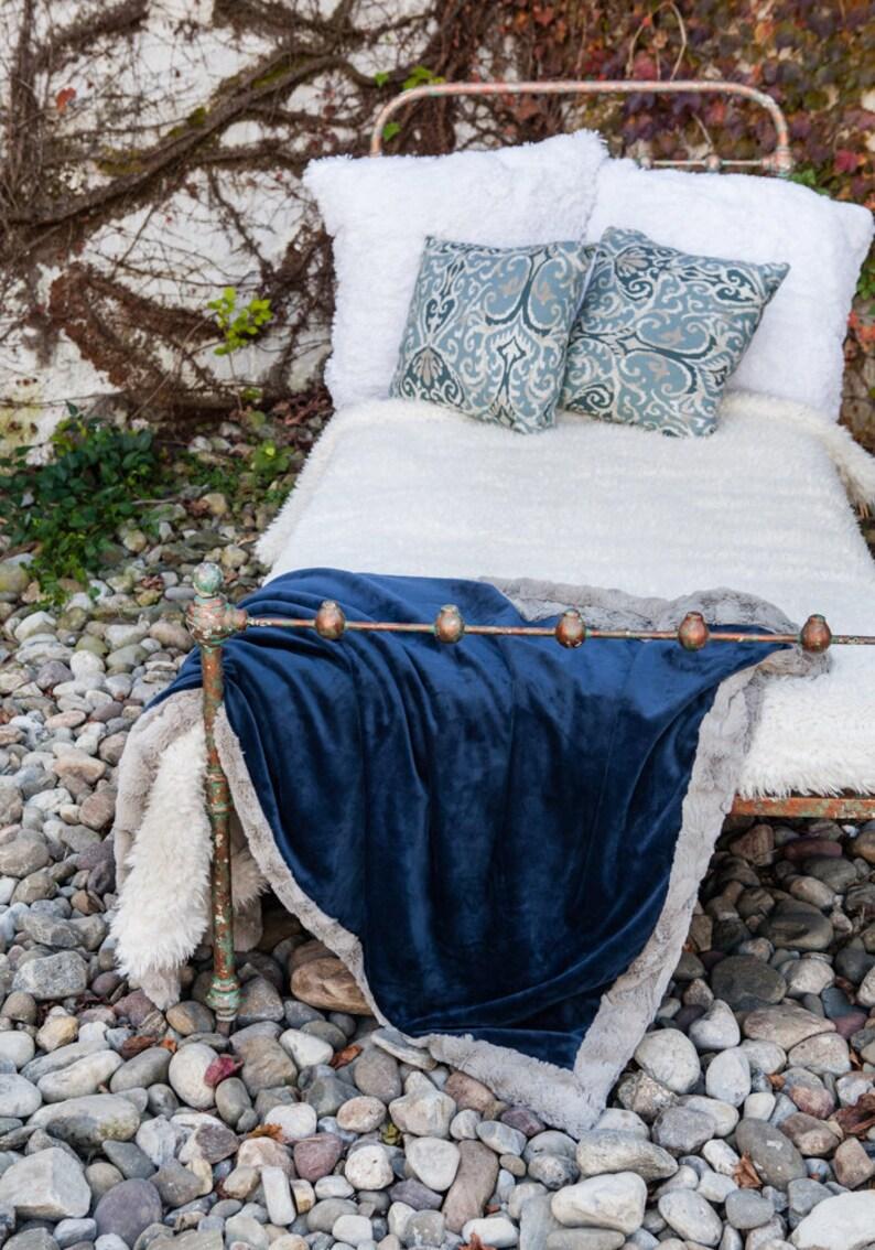 Navy Blue Faux Fur Blanket Soft Blanket Gift For Mom image 0