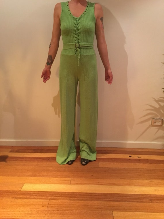 1970's knitted green jumpsuit