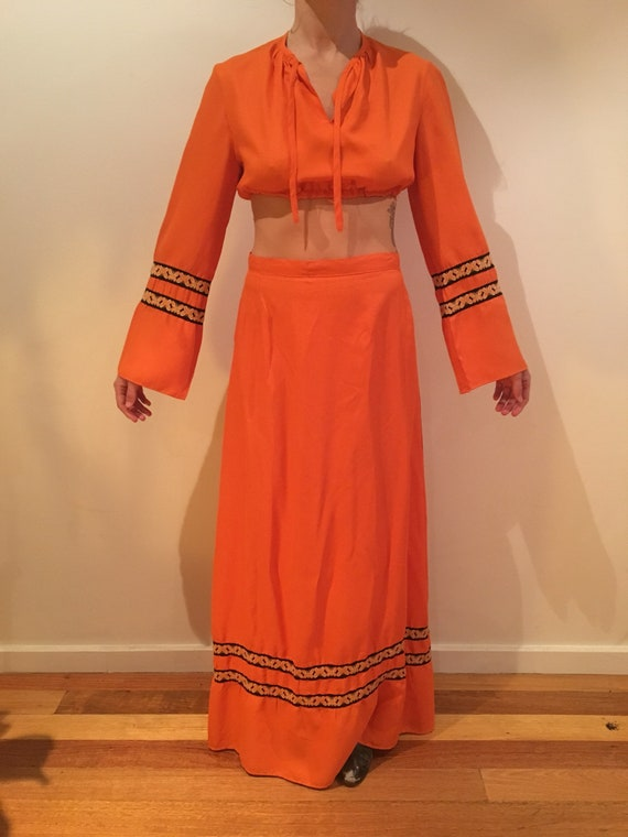 1070's orange vintage two piece