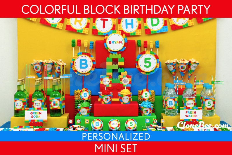 Colorful Blocks Birthday Party Package Collection Set Mini image 0