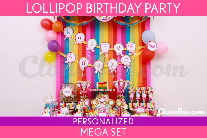 Lollipop Birthday Party Package Collection Set Mega image 0