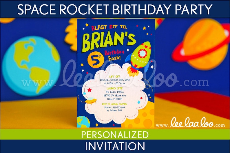 Space Rocket Birthday Party Invitation Personalized Printable image 0