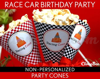 Race Car Birthday Party - Party Cones & Bonus: Mini Hershey Wrappers NonPersonalized Printable // Vintage Race Car - B1Nm