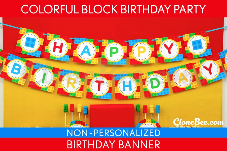 Colorful Block Birthday Party  Banner Happy Birthday image 0