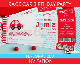 Race Car Birthday Party Invitation Personalized Printable // Cute Race Car - B36Pa4