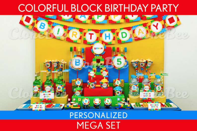 Colorful Blocks Birthday Party Package Collection Set Mega image 0