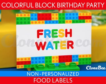 Colorful Block Birthday Party - Food Labels & Bonus: Toothpick Flags NonPersonalized Printable // Colorful Block - B22Nc