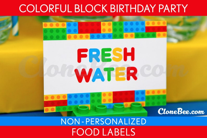 Colorful Block Birthday Party  Food Labels & Bonus: Toothpick image 0
