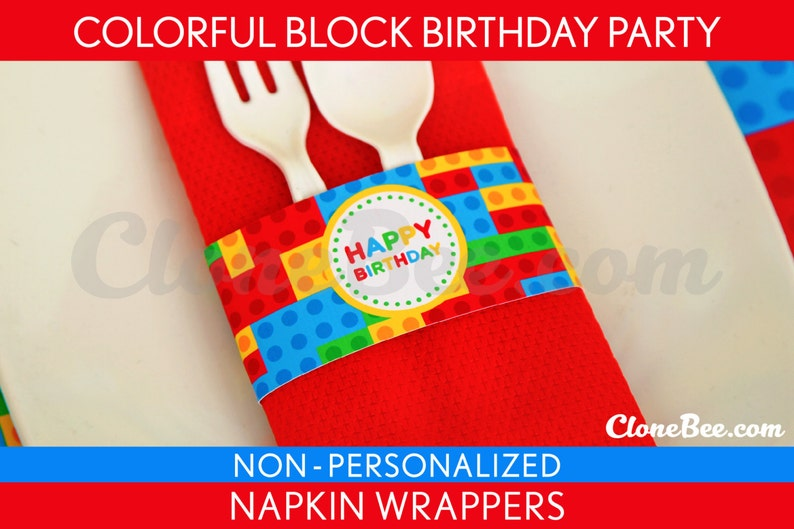 Colorful Blocks Birthday Party  Napkin Wrappers & Bonus: image 0