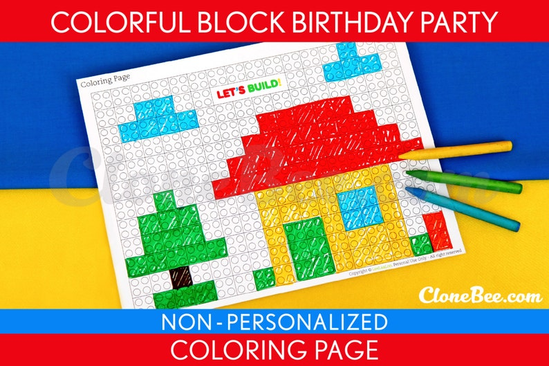 Colorful Blocks Birthday Party  Coloring Page & Bonus: 2 inch image 0