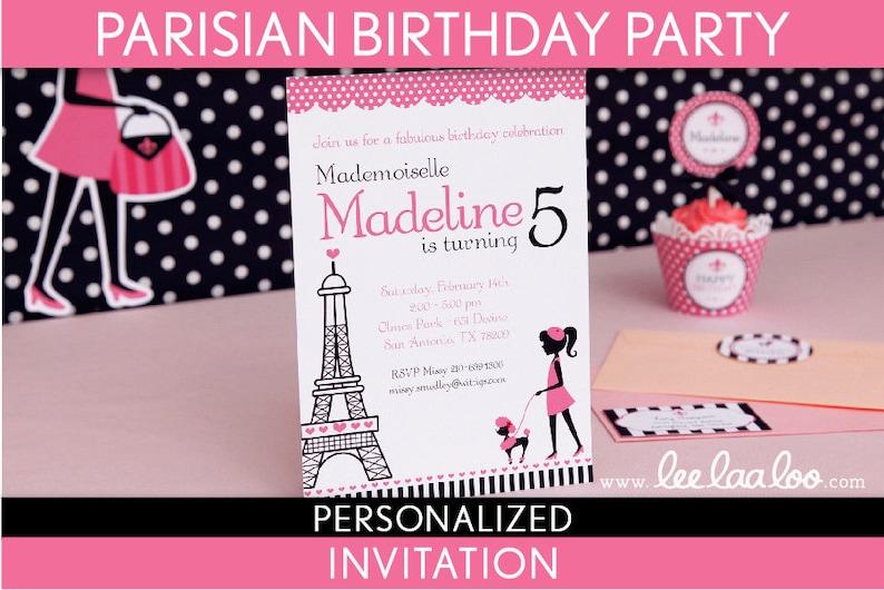 Parisian Birthday Party Invitation Personalized Printable // image 0