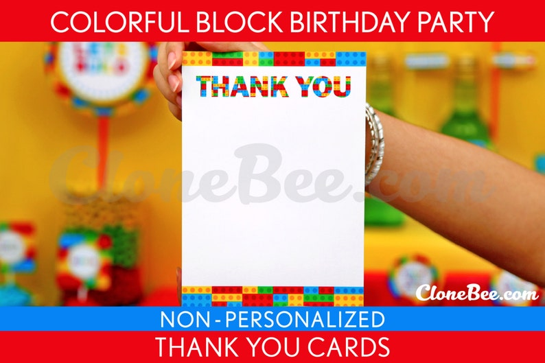 Colorful Blocks Birthday Party  Thank You Card & Bonus: Party image 0