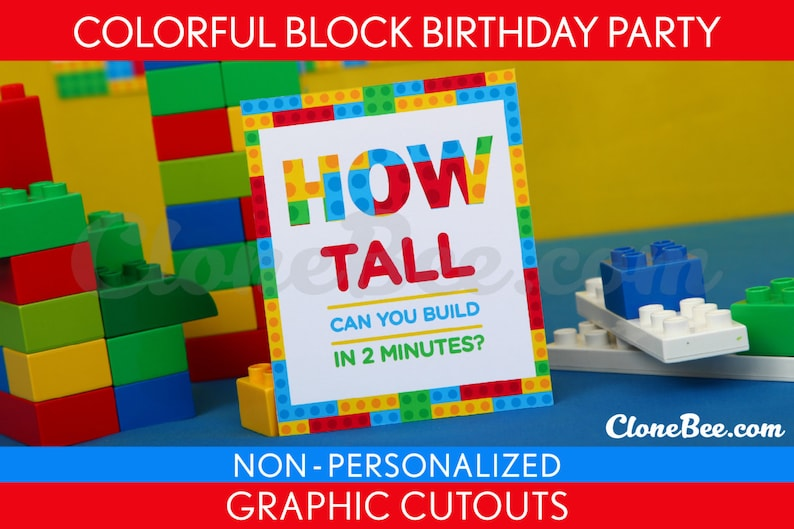 Colorful Blocks Birthday Party  Graphic Cutouts image 0