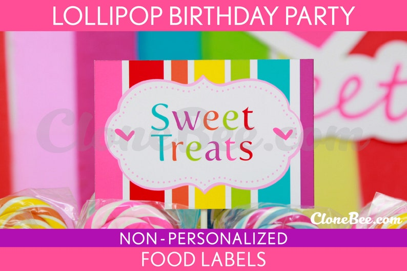 Lollipop Birthday Party  Food Labels & Bonus: Toothpick Flags image 0