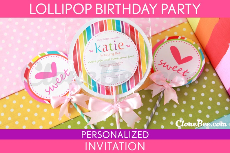 Lollipop Birthday Party Invitation Personalized Printable // image 0