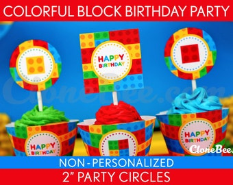 Colorful Block Birthday Party - 2 inch Party Circles & Bonus: Cupcake Wrappers NonPersonalized Printable // Colorful Block - B22Nd