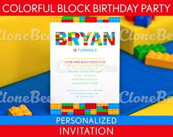 Colorful Blocks Birthday Party Invitation Personalized Printable // Colorful Blocks - B22Pa1